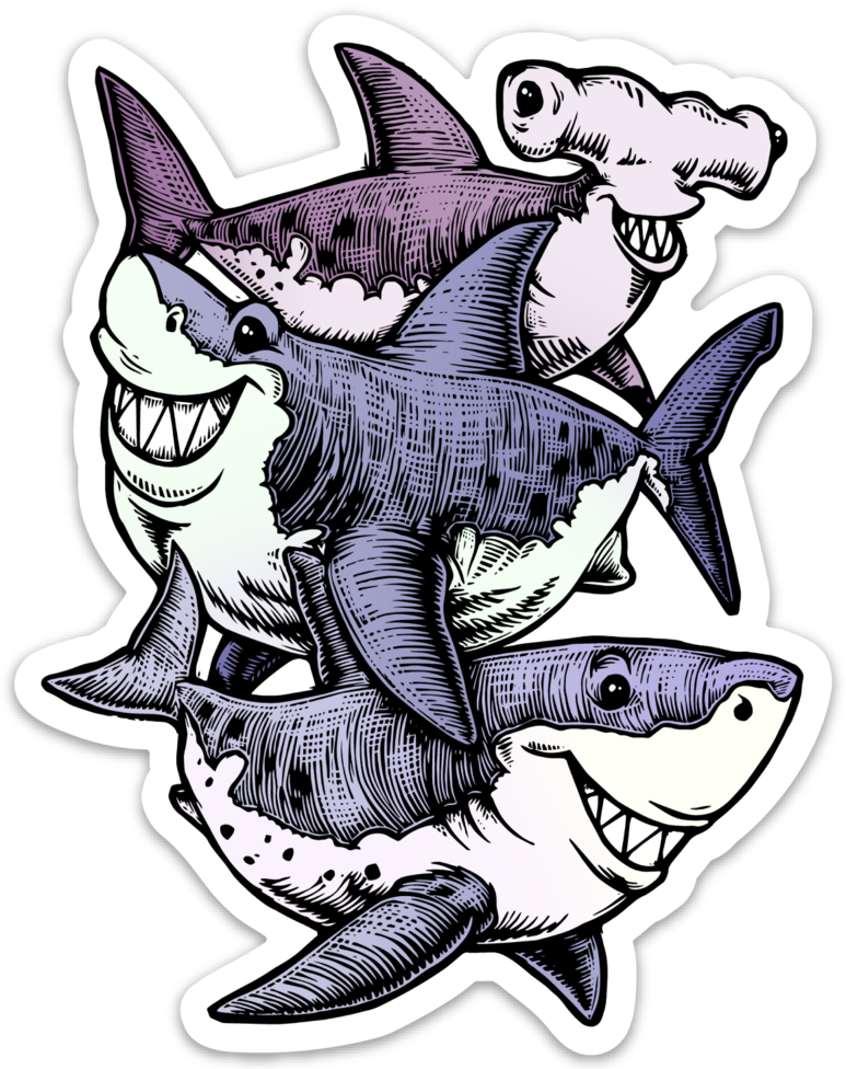 Image of Three Sharks Sticker