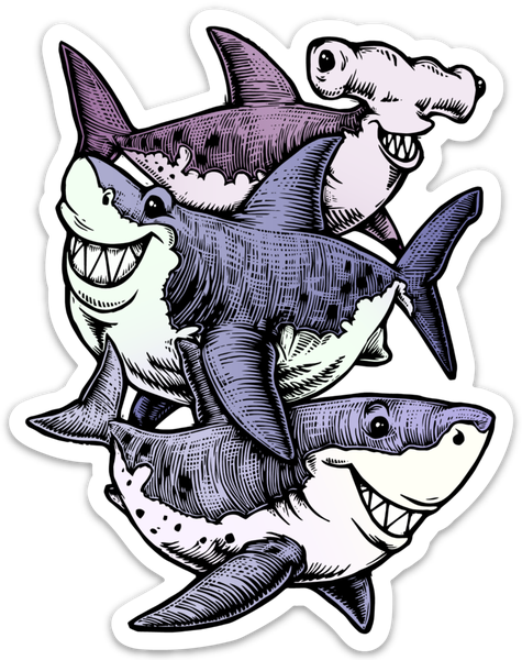 Image of Three Sharks Sticker