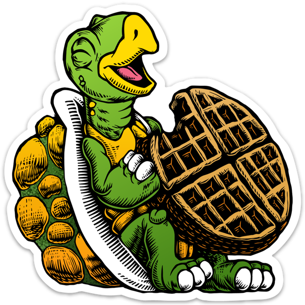 Image of Turtle eating a waffle Sticker