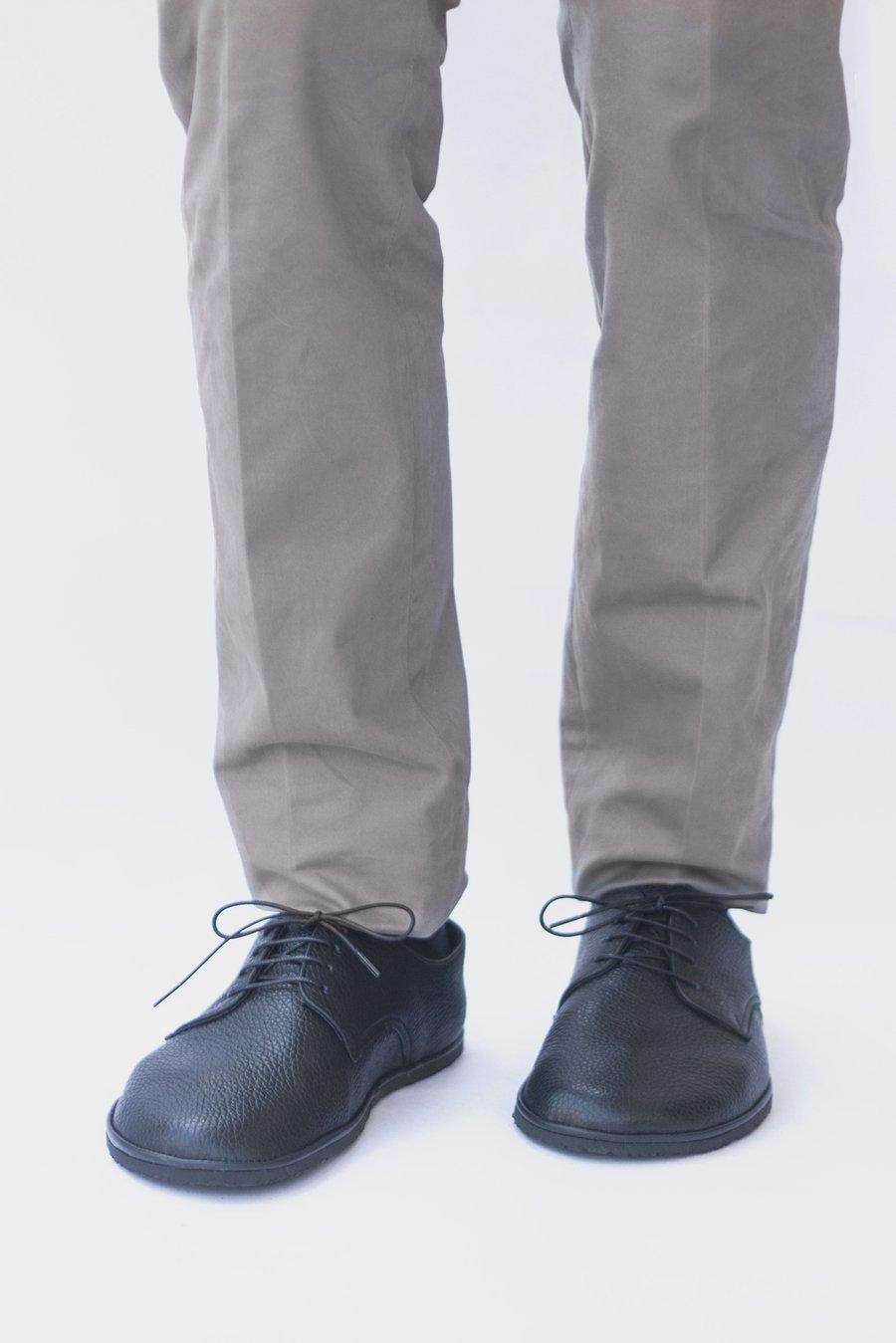 Image of Plain Toe Derby in Pebbled Black