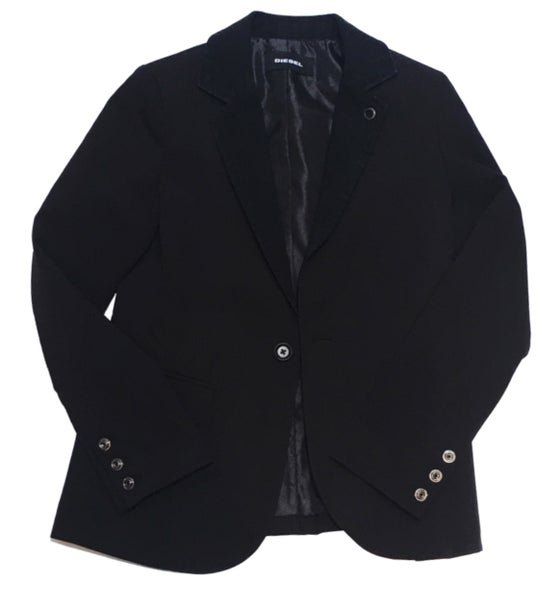 Image of Diesel Black Denim Trim Jacket