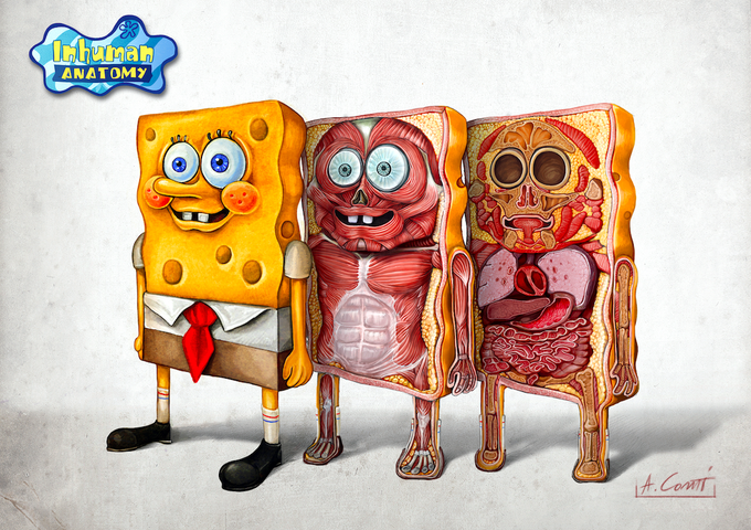 Image of SPONGEBOB- ANATOMY  limited edition of 100 Giclèe print on fine art canvas