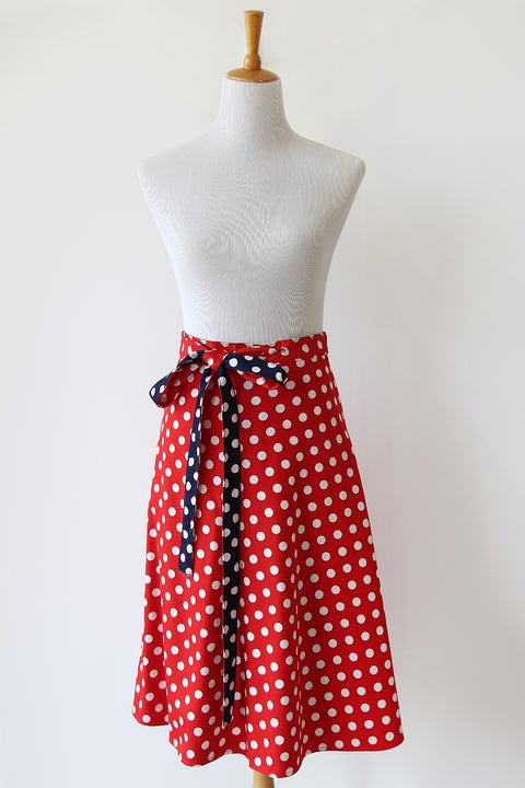 Image of SOLD Reversible Polka Dot Red Or Blue Wrap Skirt