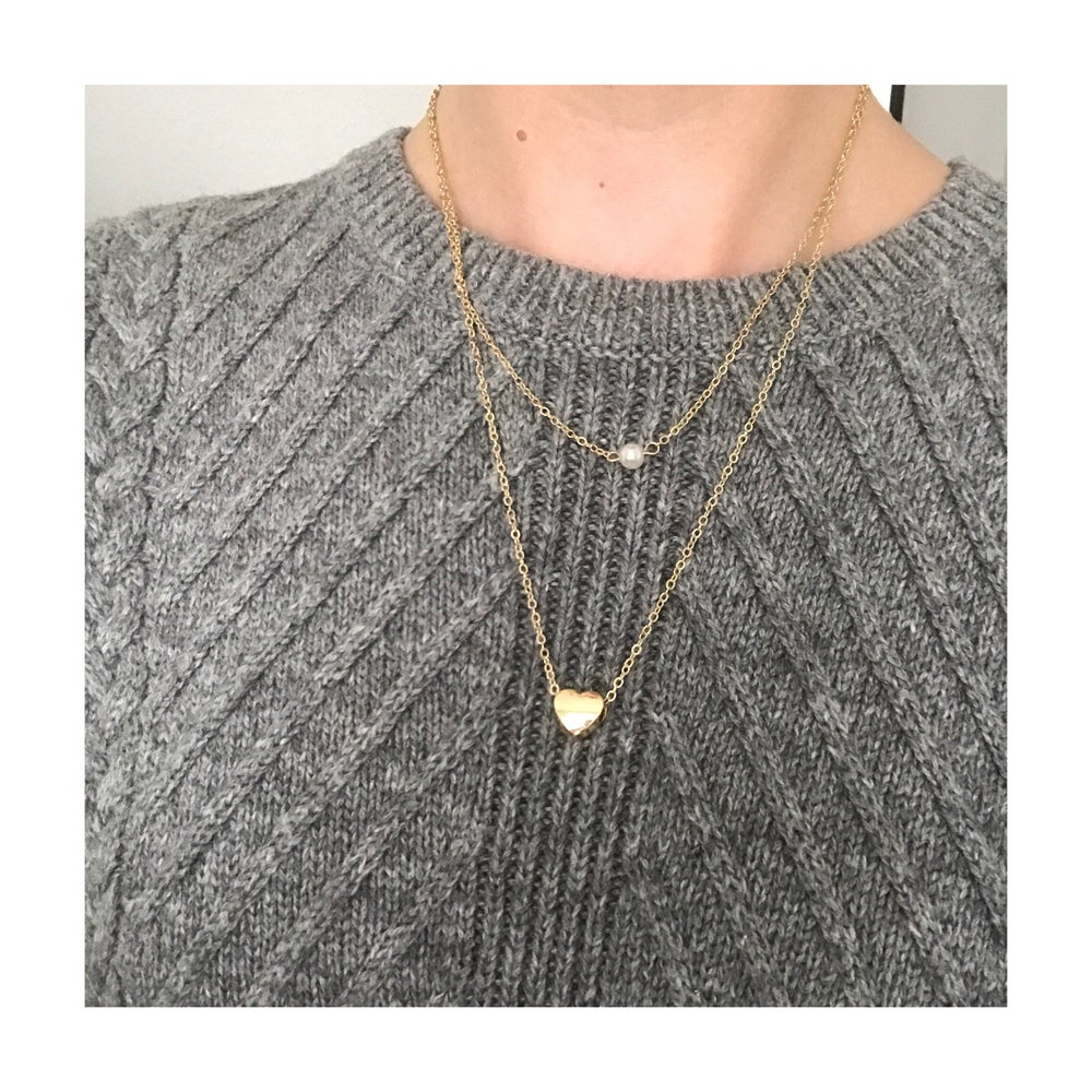 Image of Gold Heart & Faux Pearl Layered Necklace