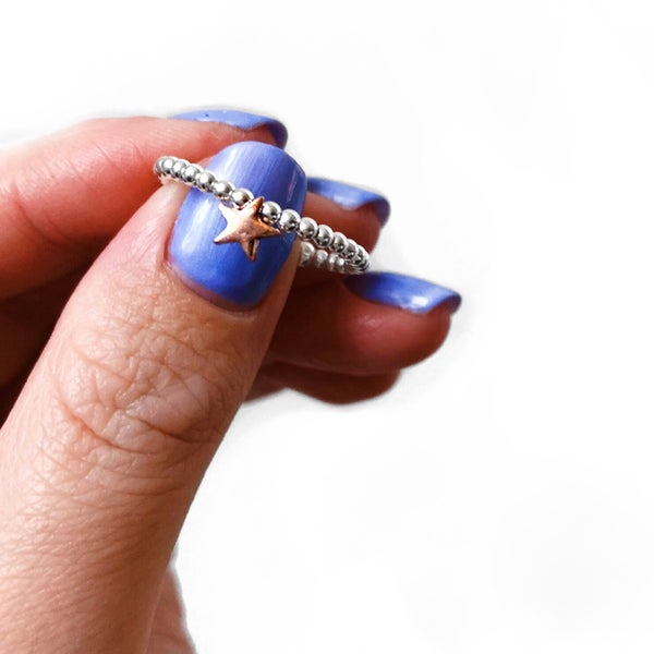 Image of Sterling Silver & Rose Gold Star Bead Ring