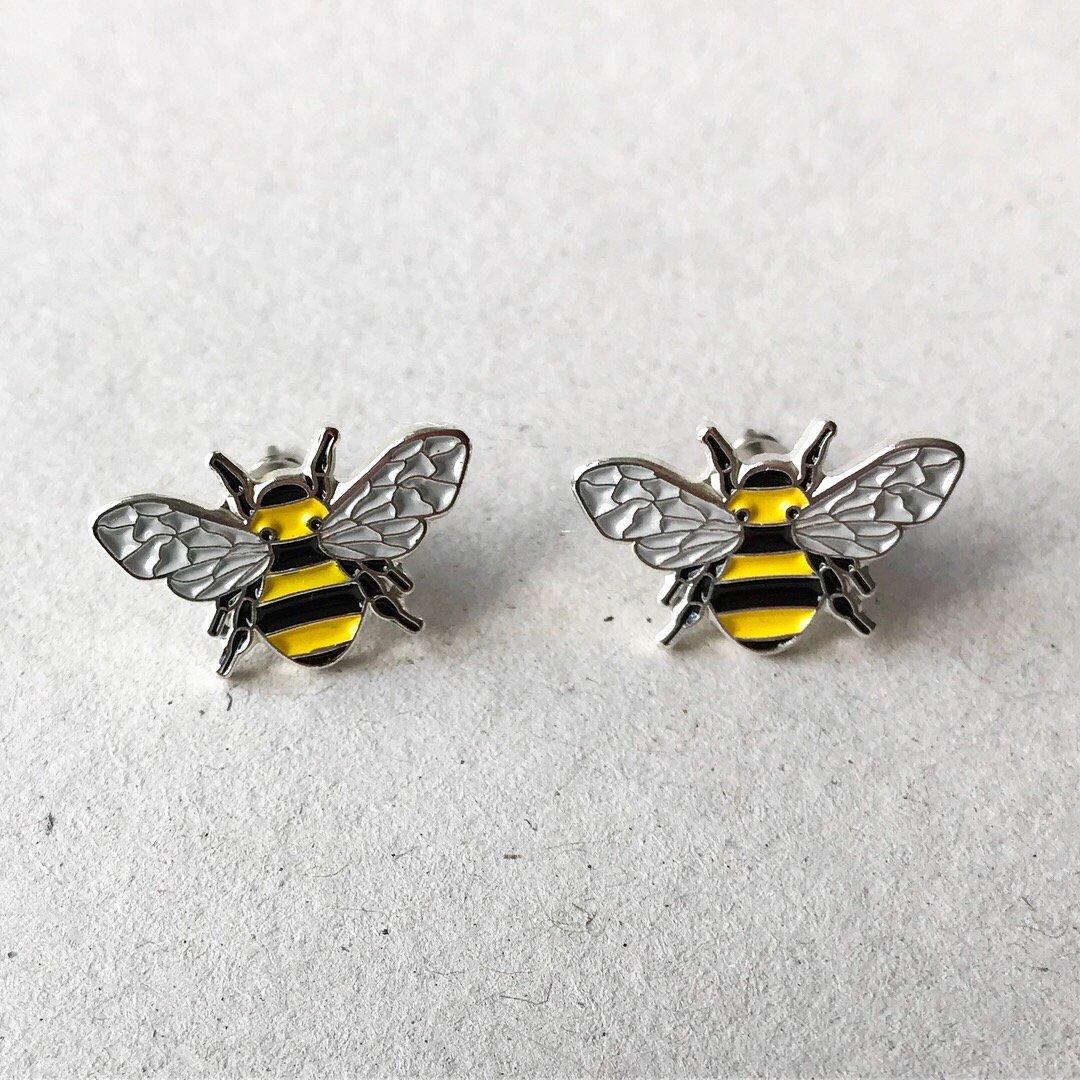 Image of BEE ENAMEL STUD EARRING SET - YELLOW + BLACK