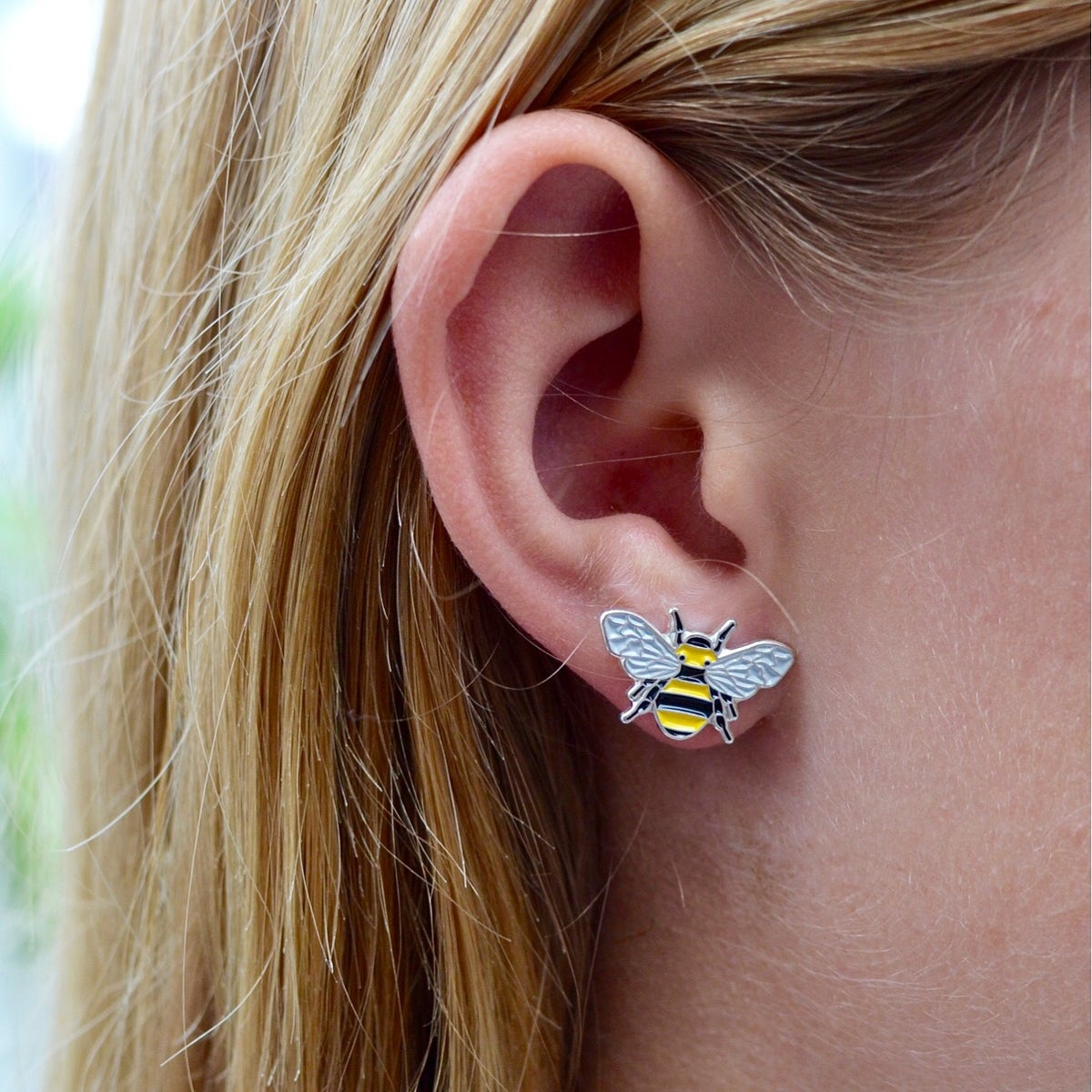 Image of BEE ENAMEL STUD EARRING SET - YELLOW + BLACK