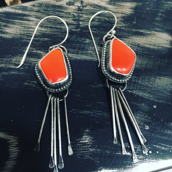Image of Rosarita Slag Glass Dangle Earrings