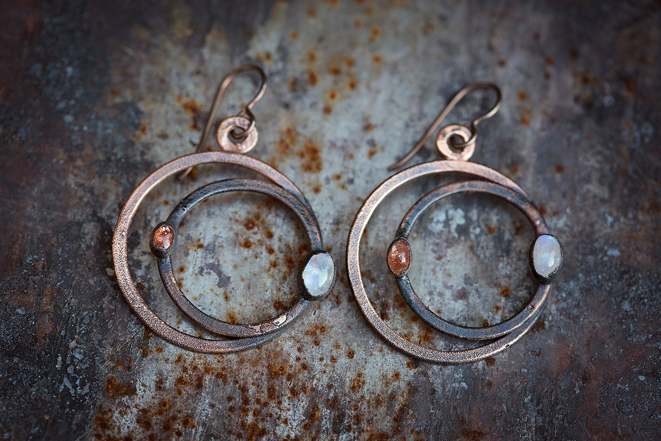 Image of solar eclipse earrings | Hammered Copper + Sunstone + Moonstone