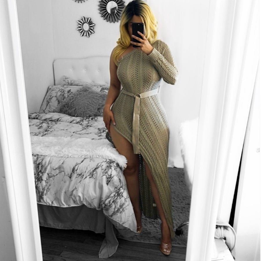 Image of Sweater one sided slit dress