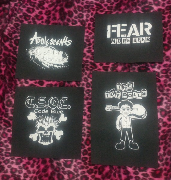 Image of Pick 1 patch - TSOL, Adolescents, Toy Dolls Olga guitar, FEAR more beer