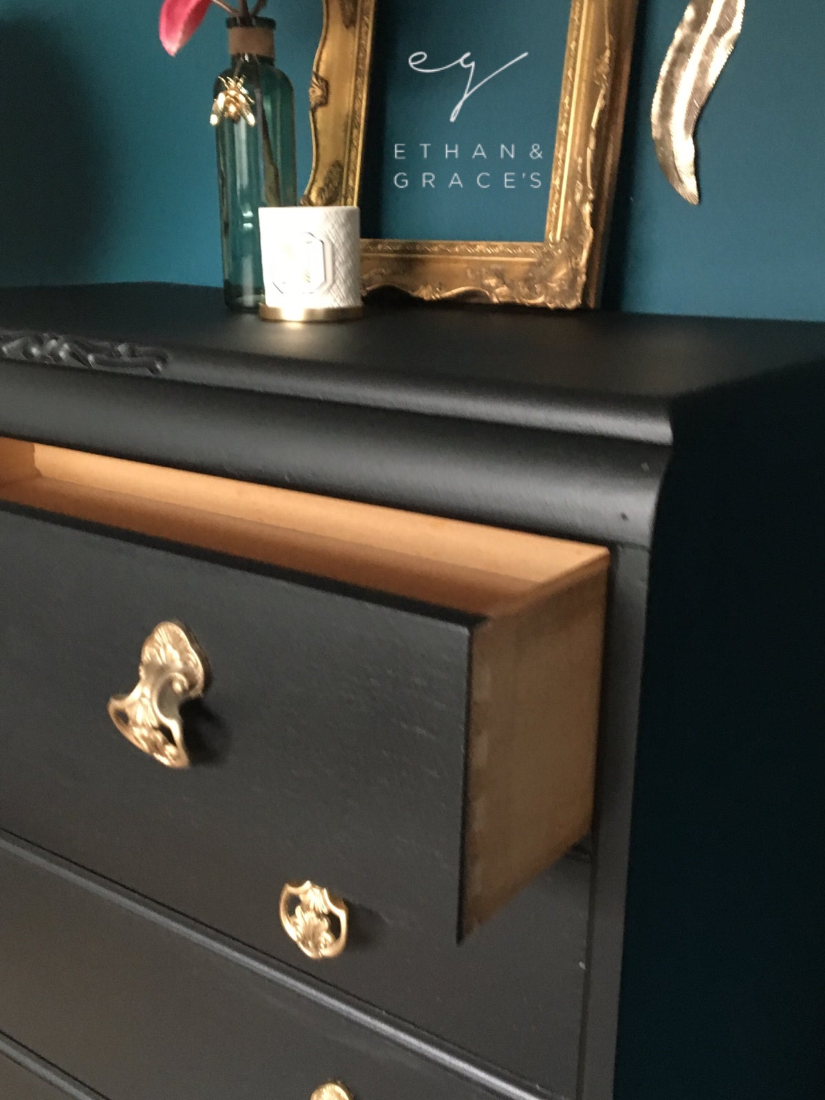 Image of Vintage black & gold wooden chest of drawers