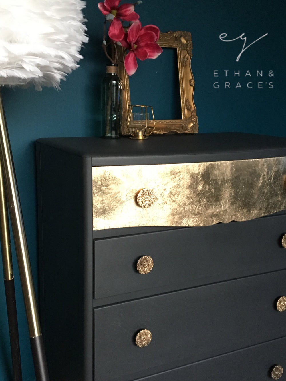 Image of Vintage chest of drawers in grey & gold