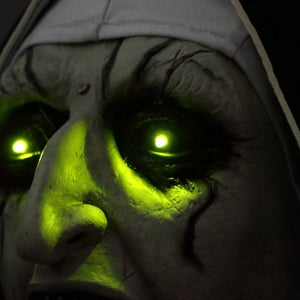 Image of The Nun Mask with Glowing Eyes & Horror Audio Voice Control Conjuring Cosplay