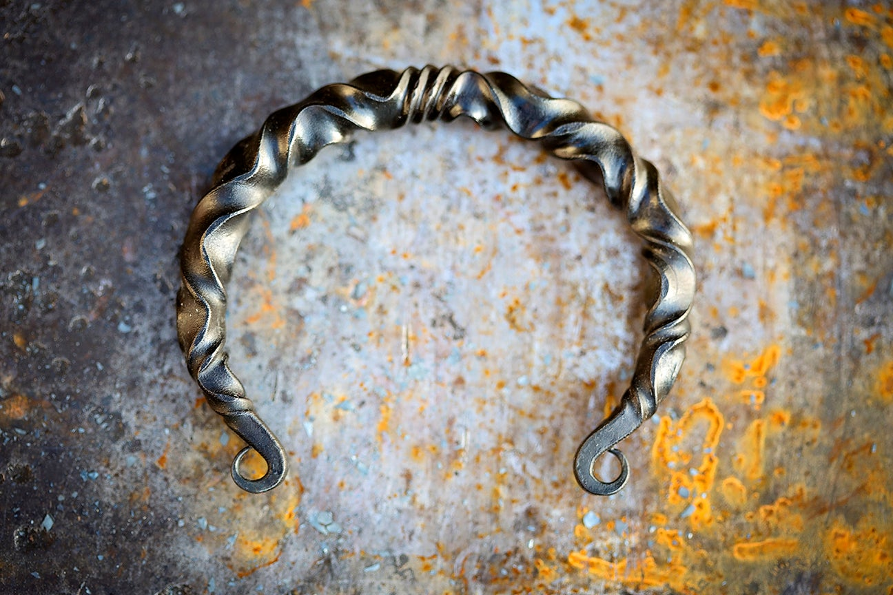 Image of Viking arm ring | reverse twist mild steel