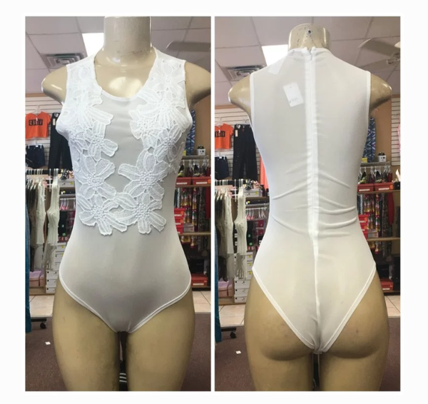 Image of Off White Lace Body Suit