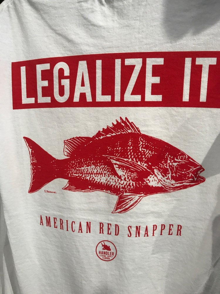 Image of 'Legalize It' Red Snapper Shirt (WHITE- Short Sleeve Cotton)