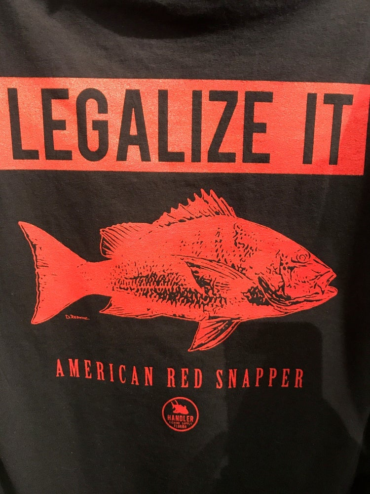 Image of 'Legalize It' Red Snapper Shirt (BLACK-Short Sleeve Cotton)