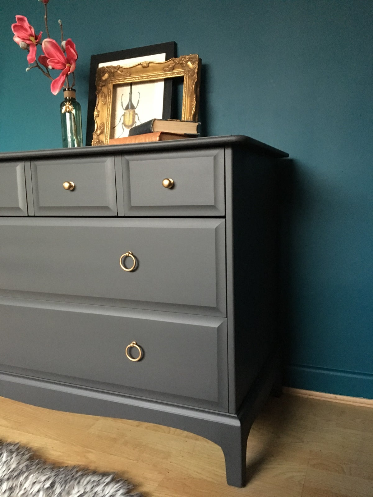 Image of Dark grey solid mahogany stag Chest Of Drawers