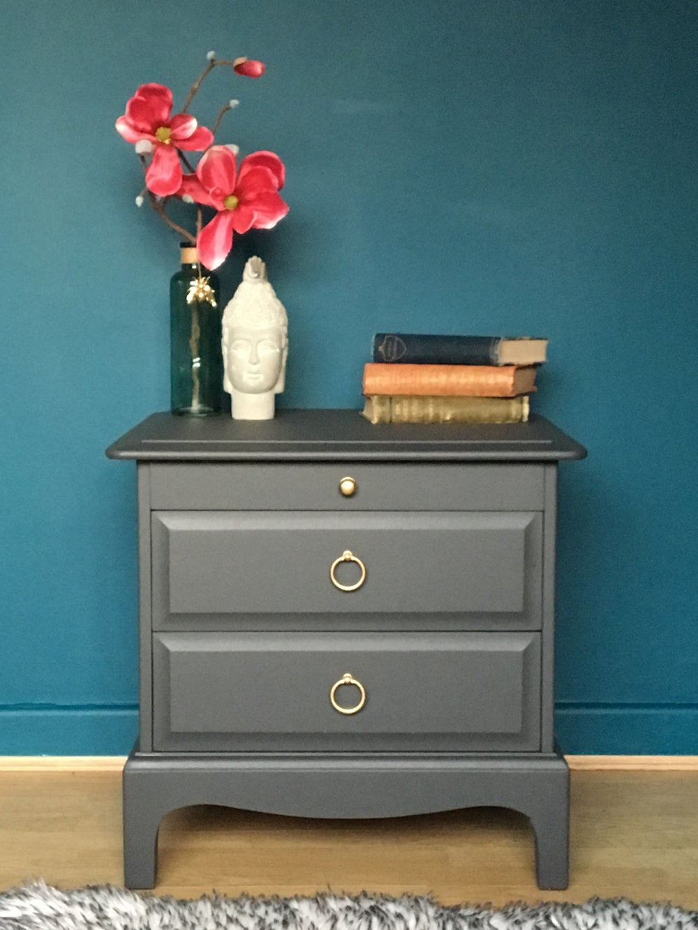 Image of Dark grey stag bedside table