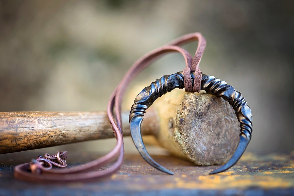 Image of Viking Lunar Crescent Necklace | Reverse Twist Mild Steel + leather throng with copper clasp