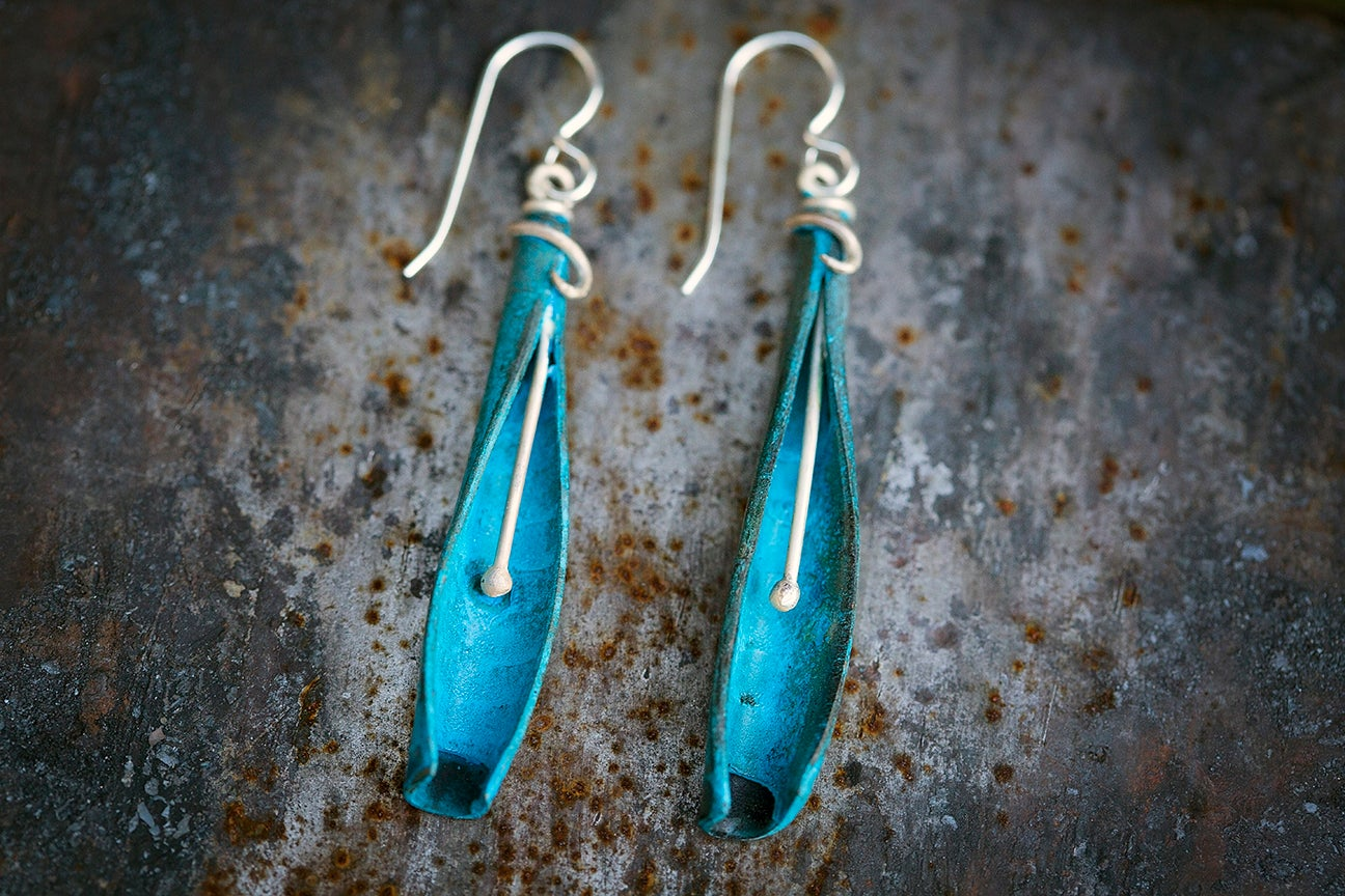 Image of Stamen Earrings | turquoise blue copper + Sterling Silver Mixed Metal