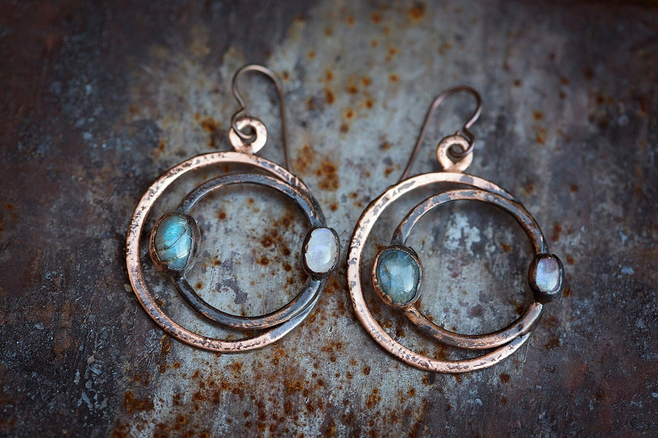 Image of lunar eclipse earrings | Hammered Copper + Labradorite + Moonstone