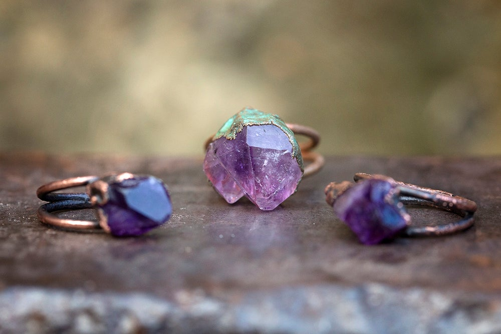 Image of raw stone ring | made to order | amethyst crystal point + copper | February birthstone