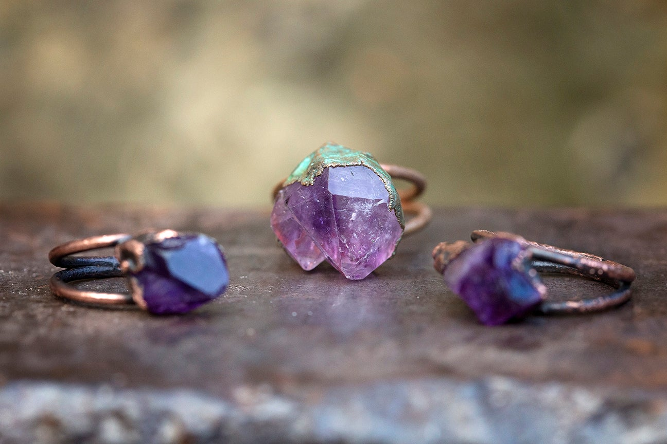 raw stone ring | made to order | amethyst crystal point + copper | February  birthstone