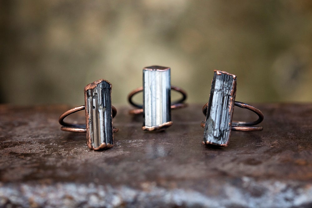 Image of raw stone ring | made to order | black tourmaline + copper