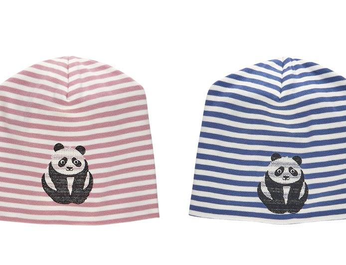 Image of NEU Mütze blau oder rose gestreift mit Panda