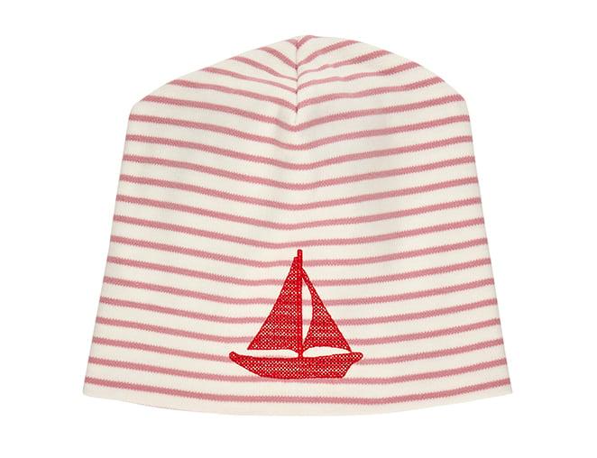 Image of SALE Mütze blau oder rose gestreift mit Boot