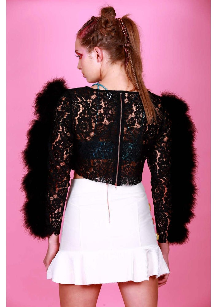 Image of BLACK CHLOE FEATHER TOP