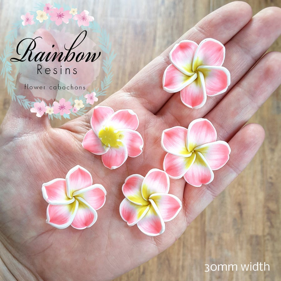 Image of Tropical pink and yellow polymer clay flowers x 5