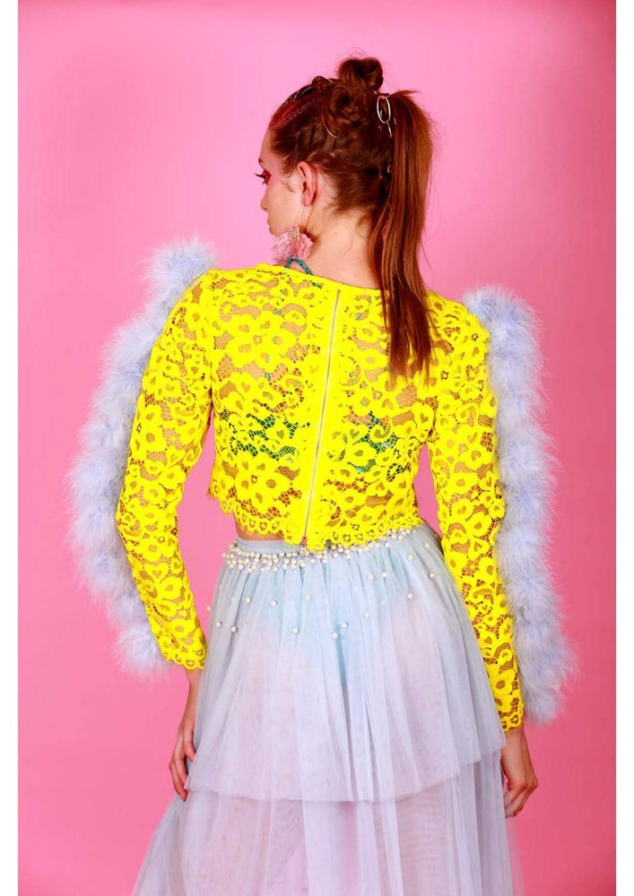 Image of NEON CHLOE FEATHER TOP
