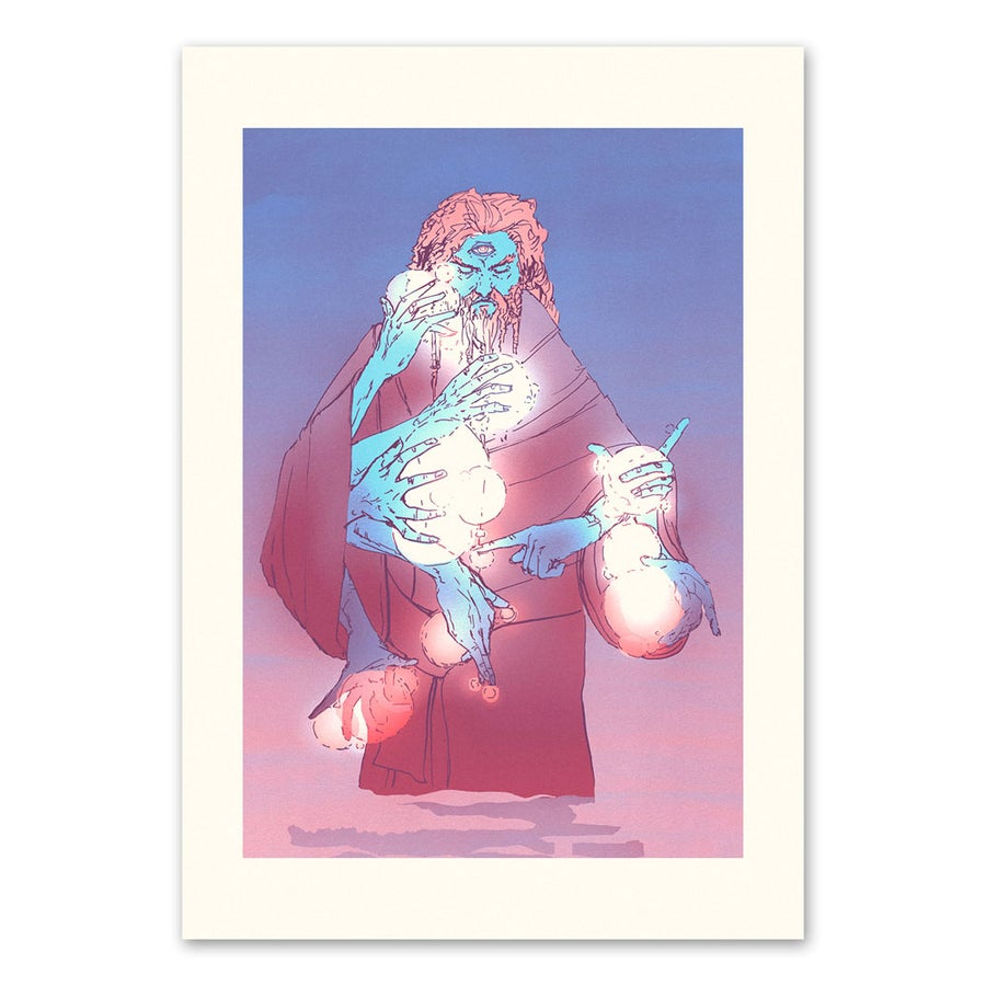Image of URMYXI the Wizard - Limited Edition Risograph Art Print