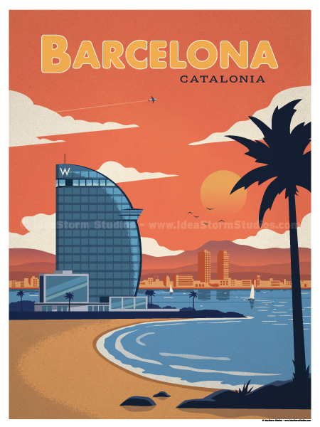 Image of Barcelona Modern Poster