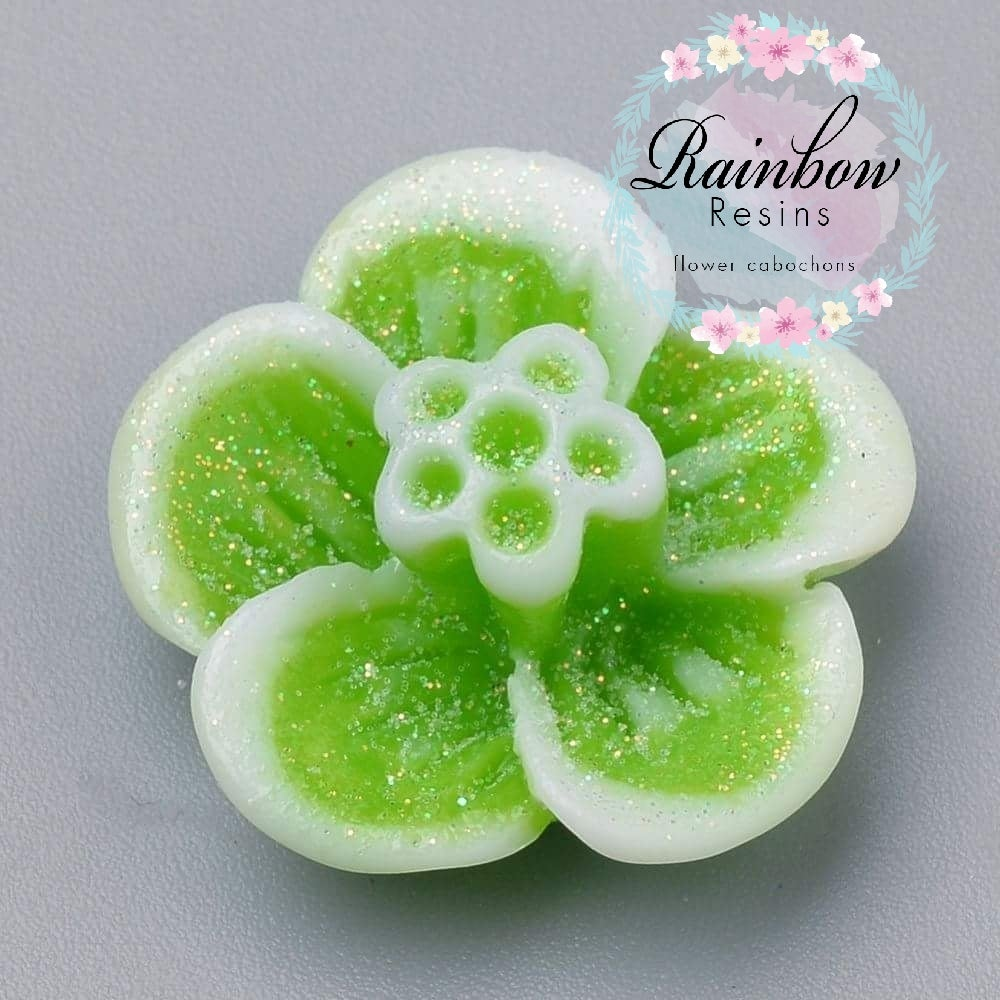 Image of Lime green sprakly glitter blossoms x 10