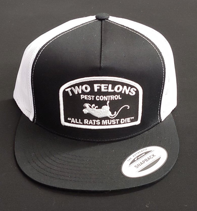 "Image of Two Felons ""Pest Control"" V1 trucker (b/w)"