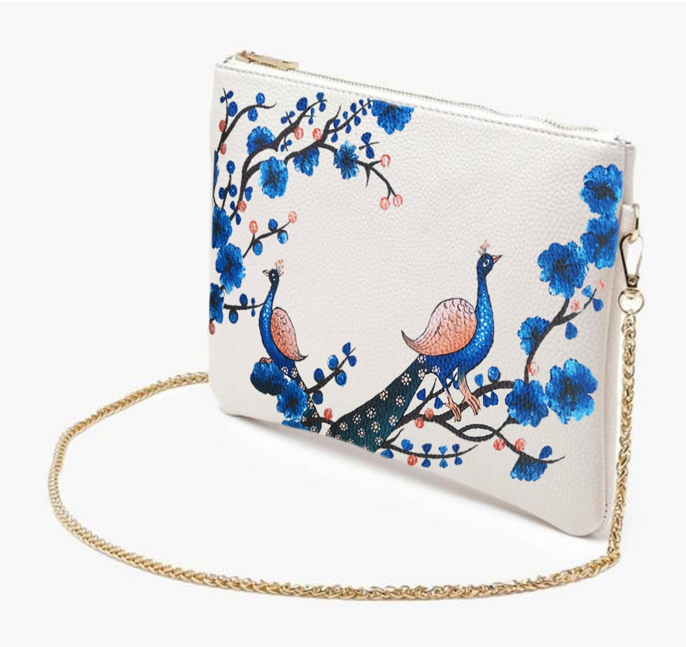 Image of  HAND PAINTED- Peacock Cross Body Chain Bag
