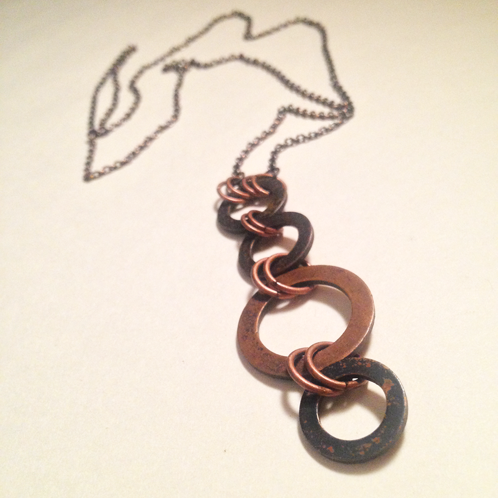 Image of The Chariot Oxidized Copper Linked Amulet Protection Necklace II | Handmade Witch Tarot Jewelry | Av
