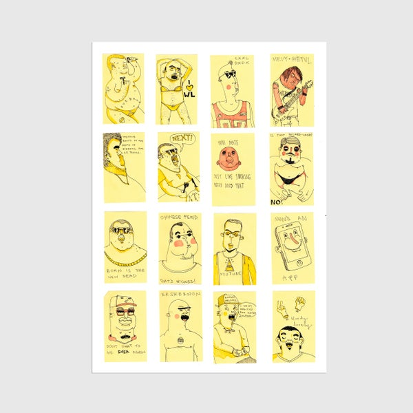 Image of A3 Post-It Dudes Print