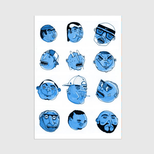 Image of A3 Blue Talking Heads Print