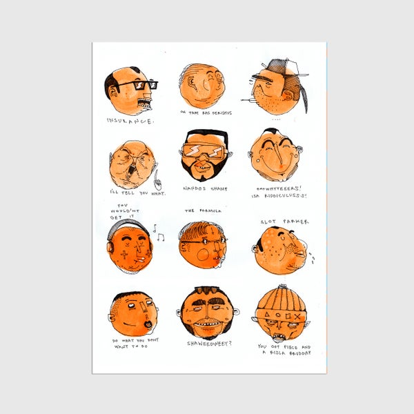 Image of A3 Orange Talking Heads Print