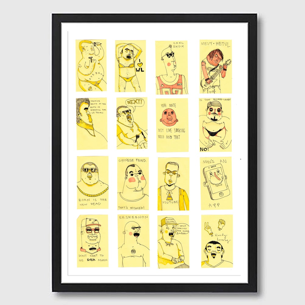 Image of Framed A3 Post-It Dudes Print
