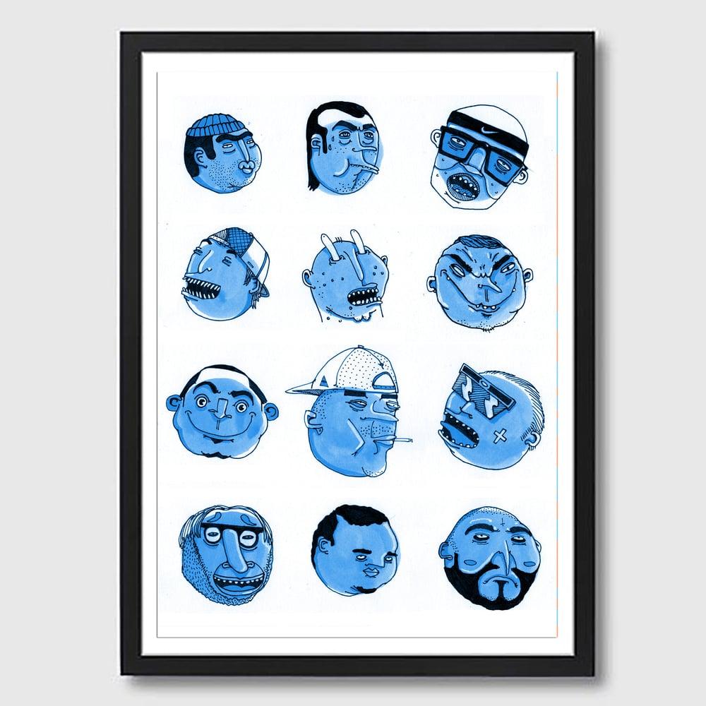 Image of Framed A3 Blue Talking Heads Print