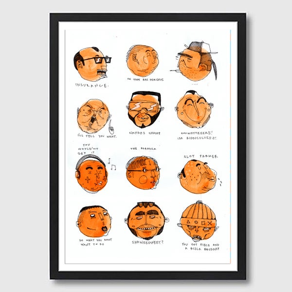 Image of Framed A3 Orange Talking Heads Print