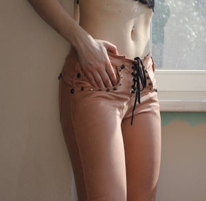 Image of DUSTY ROSE STUDDED COMFY PANTS