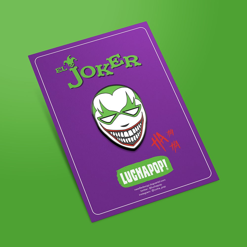 Image of LuchaPop! El Joker Enamel Pin Badge