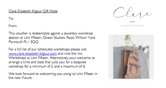 Image of Workshop Gift Vouchers